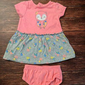 Owl Flowers Dress and Bloomers